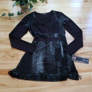 Black tunic dress with frill trim